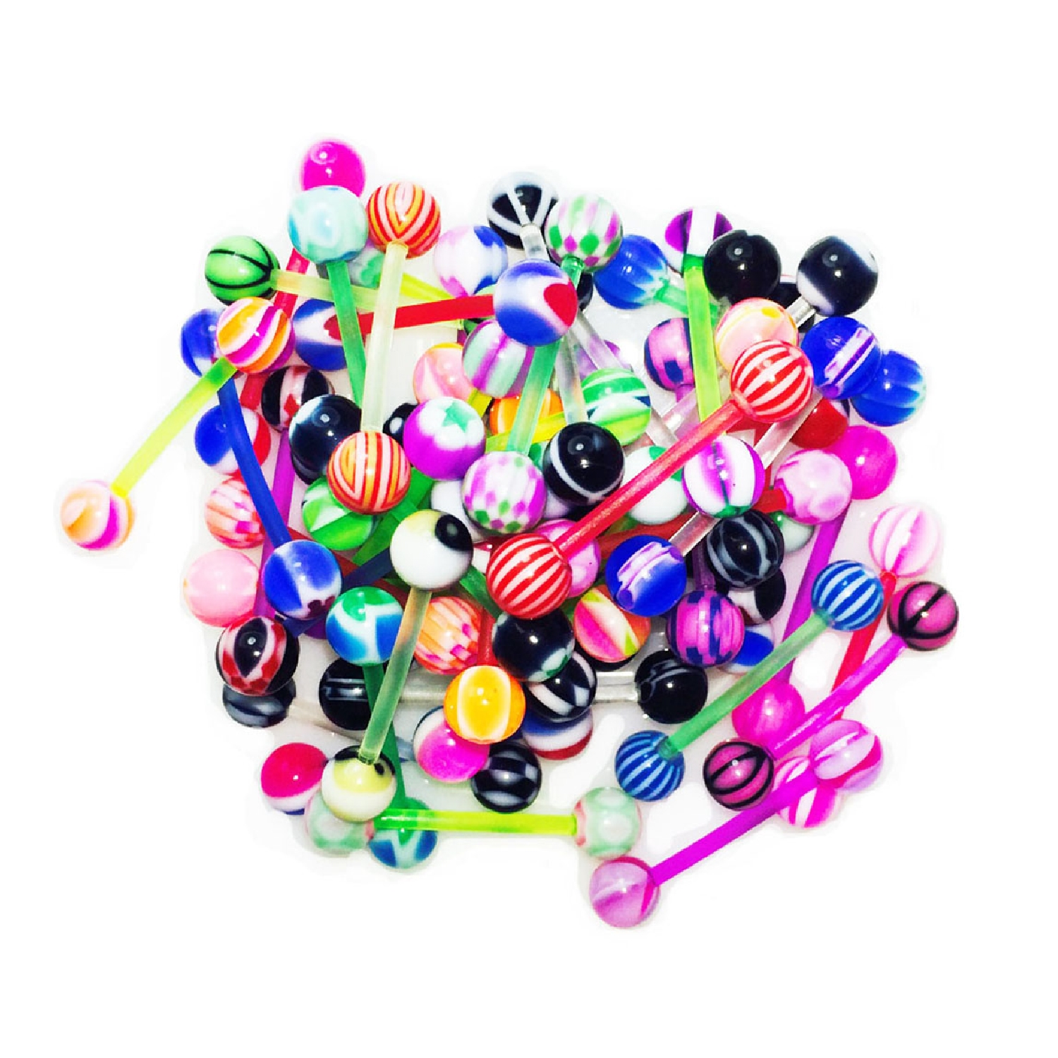 BodyJ4You 50PC Tongue Barbells Nipple Rings 14G Mix Acrylic Ball Flexible Bar Body Piercing Jewelry