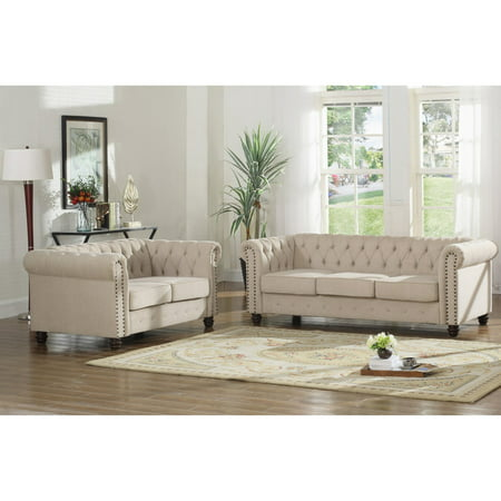 Best Master Furniture Venice 2 Piece Upholstered Sofa Set