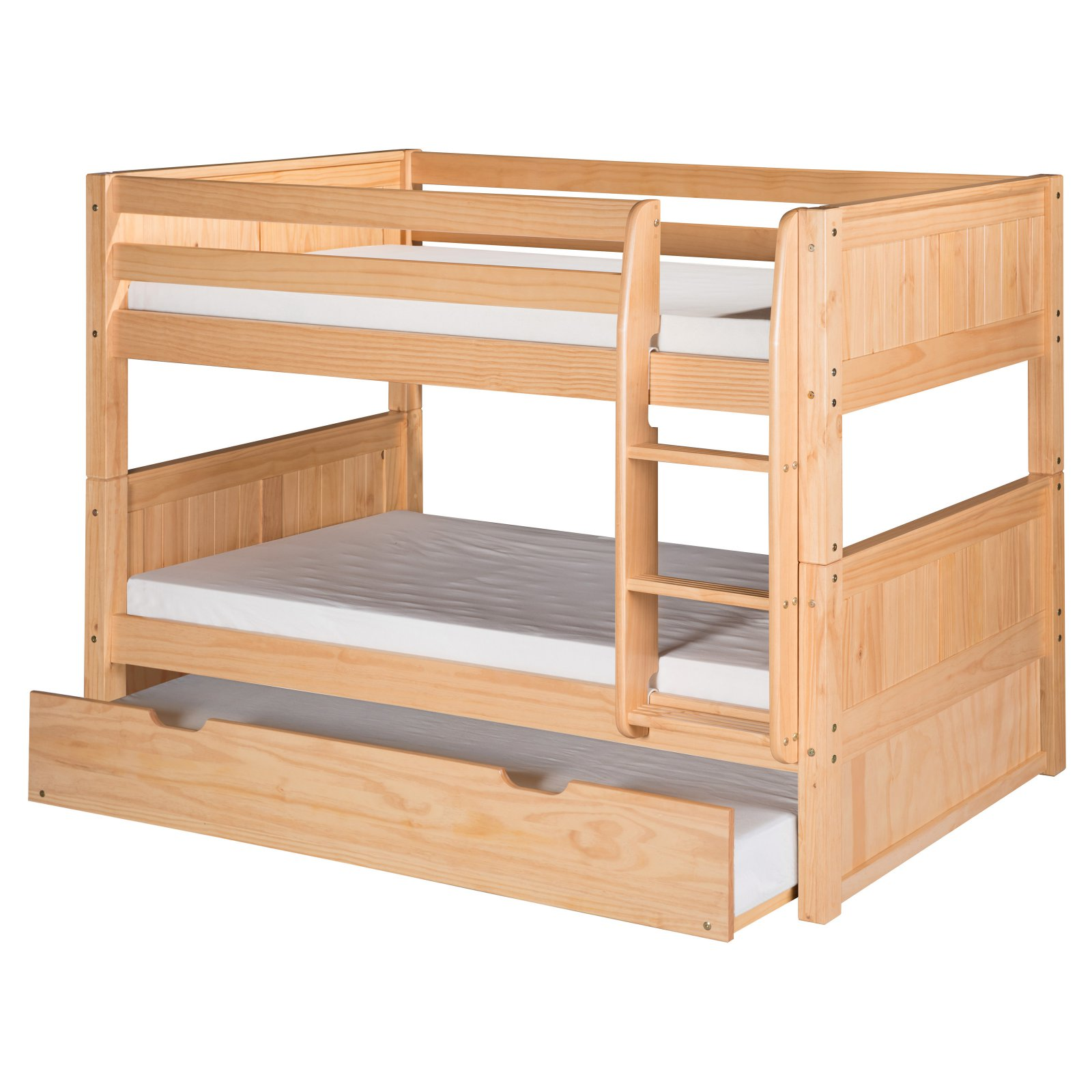 Camaflexi Twin over Twin Low Bunk Bed with Drawers - Panel Headboard - Natural Finish