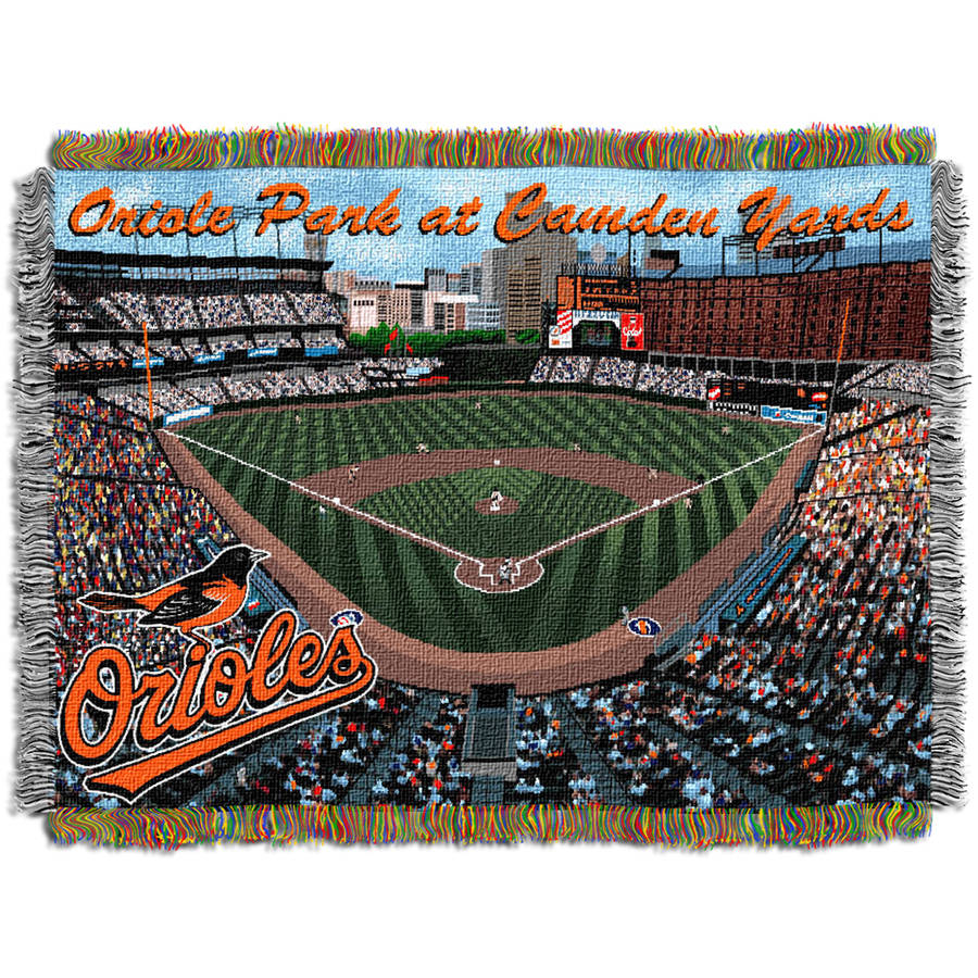 "MLB 48"" x 60"" Stadium Series Tapestry Throw, Baltimore Orioles Camden Yards"