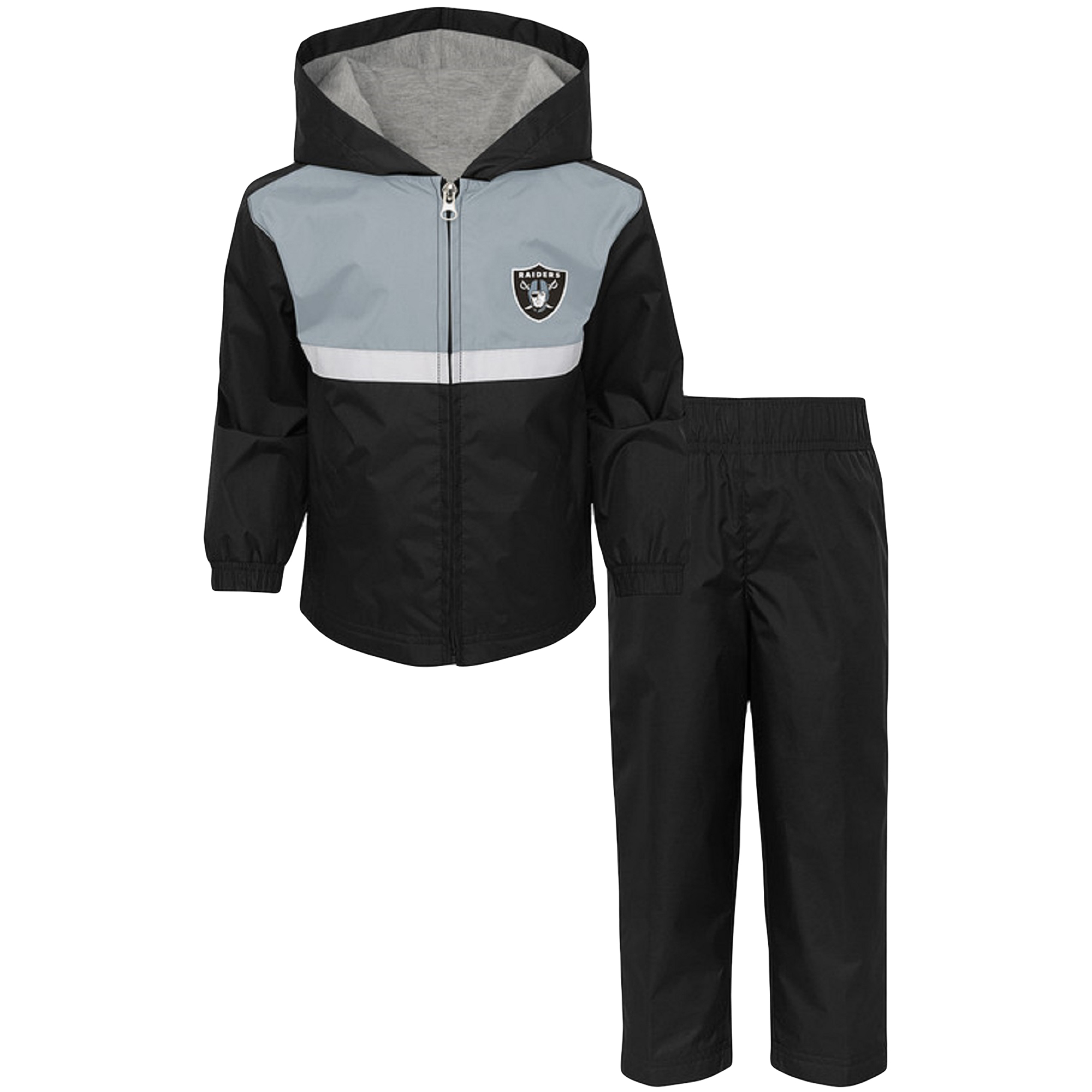Toddler Black/Silver Oakland Raiders Full-Zip Jacket & Pants Set