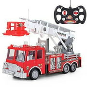Prextex 13'' Rescue R/c Fire Engine Truck Remote Control Fire Truck Best Gift Toy for Boys with Lights Siren and Extending Ladder by Prextex.com