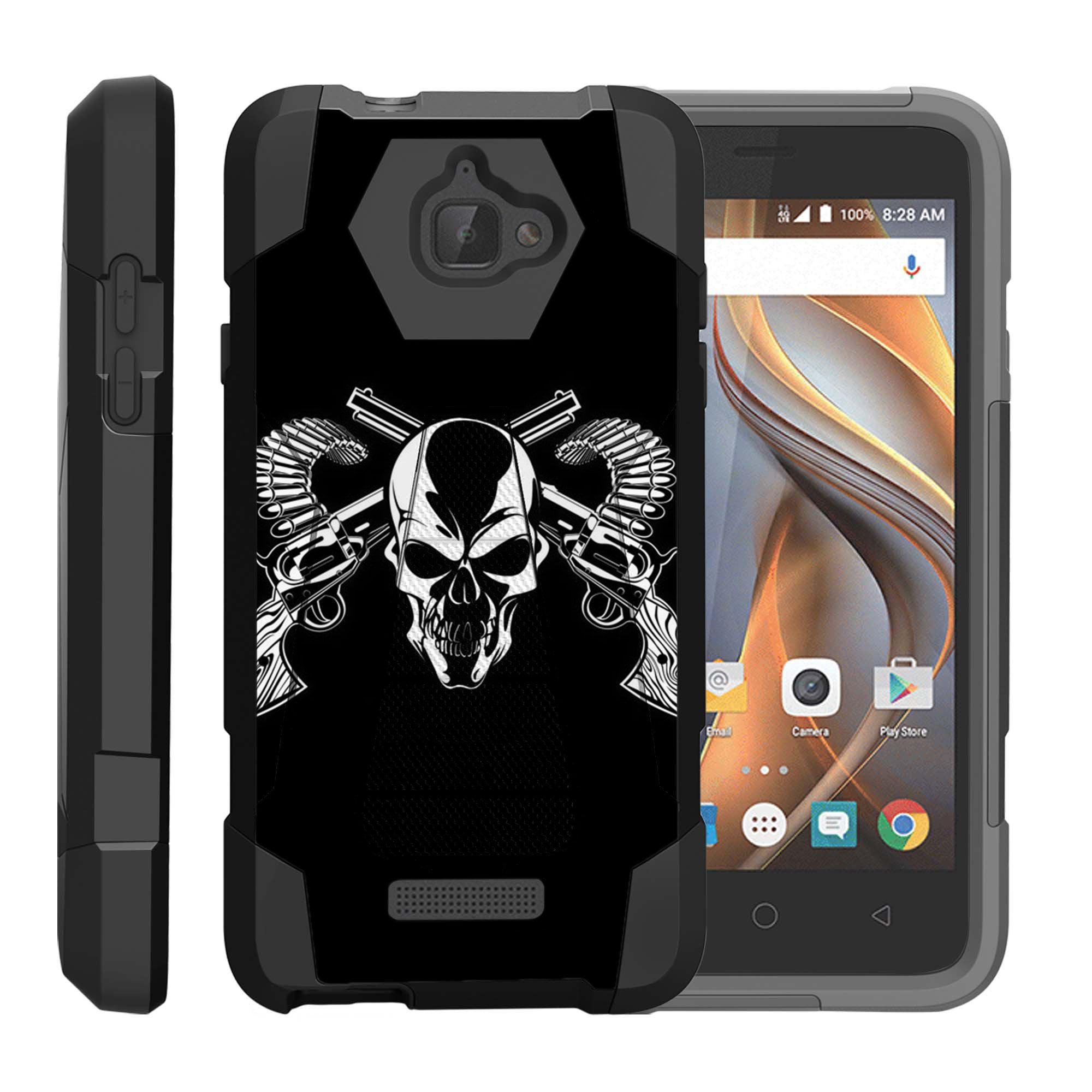 TurtleArmor ® | For Coolpad Catalyst 3622A [Dynamic Shell] Dual Layer Hybrid Silicone Hard Shell Kickstand Case - Mercenary Skull