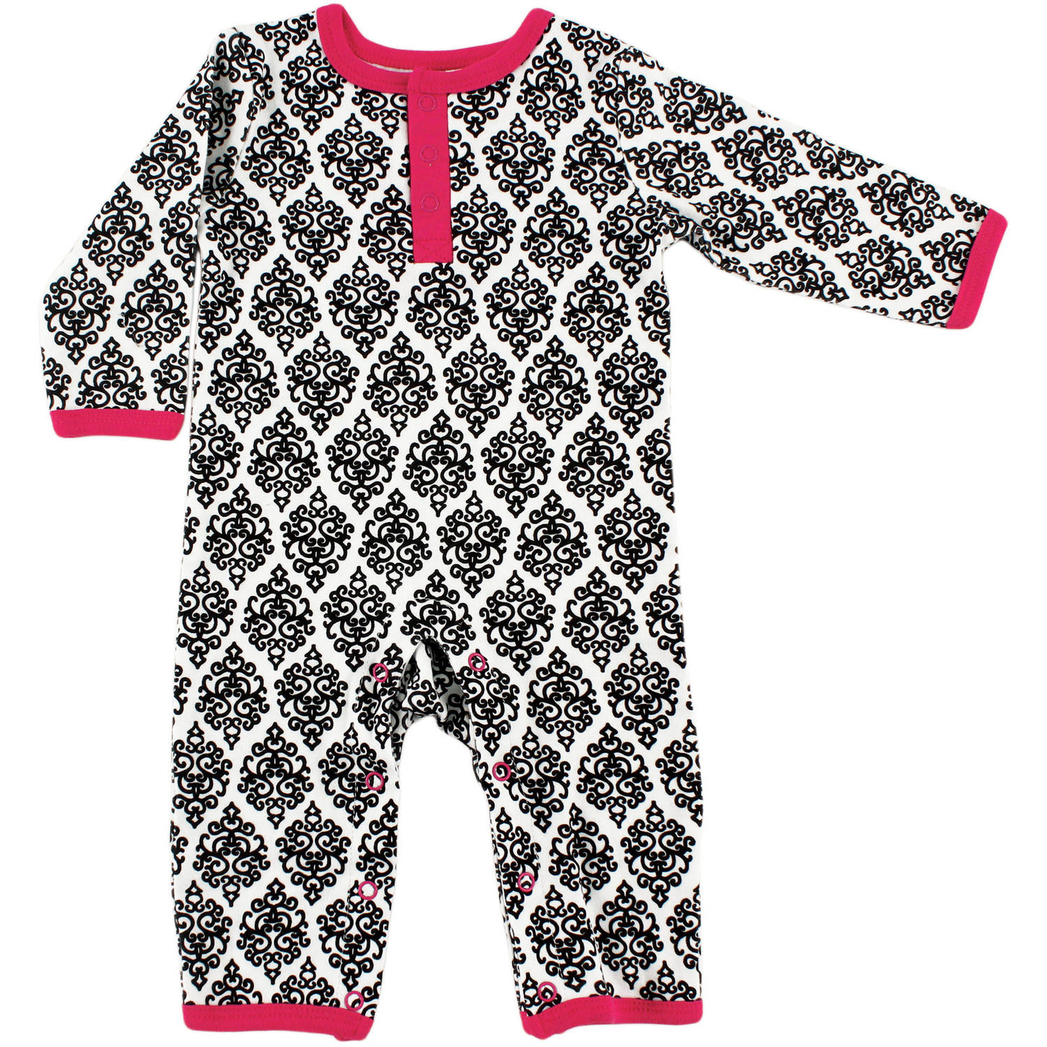 Yoga Sprout Newborn Baby Girls Union Suit - Damask