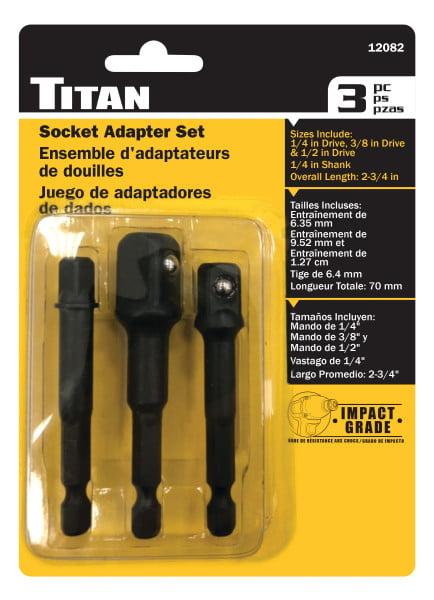 "Titan 12082 3 Piece Socket Adapter Set 1//4/"" 3//8/"" 1//2/"" Drive Impact Grade"
