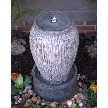 Outdoor Electric LED Lighted Stone Finish Urn Fountain-  Grey