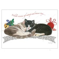 Pipsqueak Productions C587 Yin & Yang Holiday Cat Christmas Boxed Cards - Pack of 10