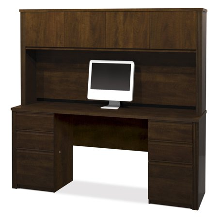 Bestar Prestige Credenza and Hutch Kit - Chocolate