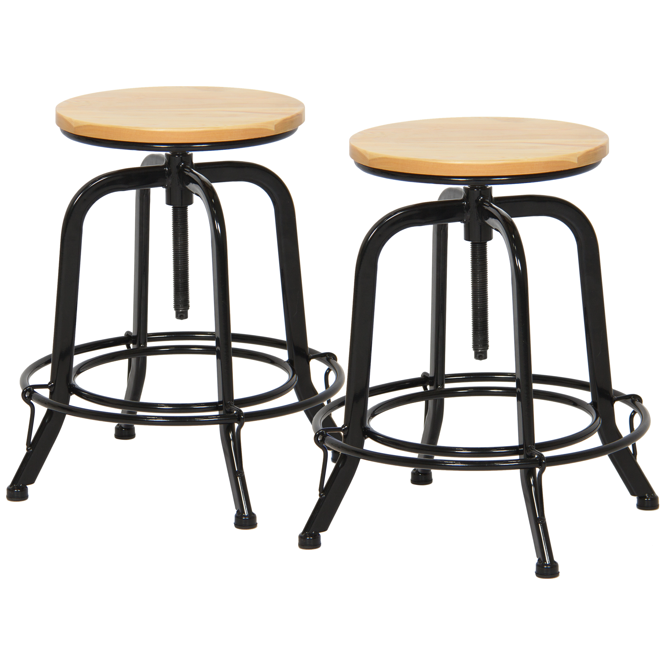 Best Choice Products Set of 2 Round Industrial Height Adjustable Wide Swivel Counter Stools - Black/Natural