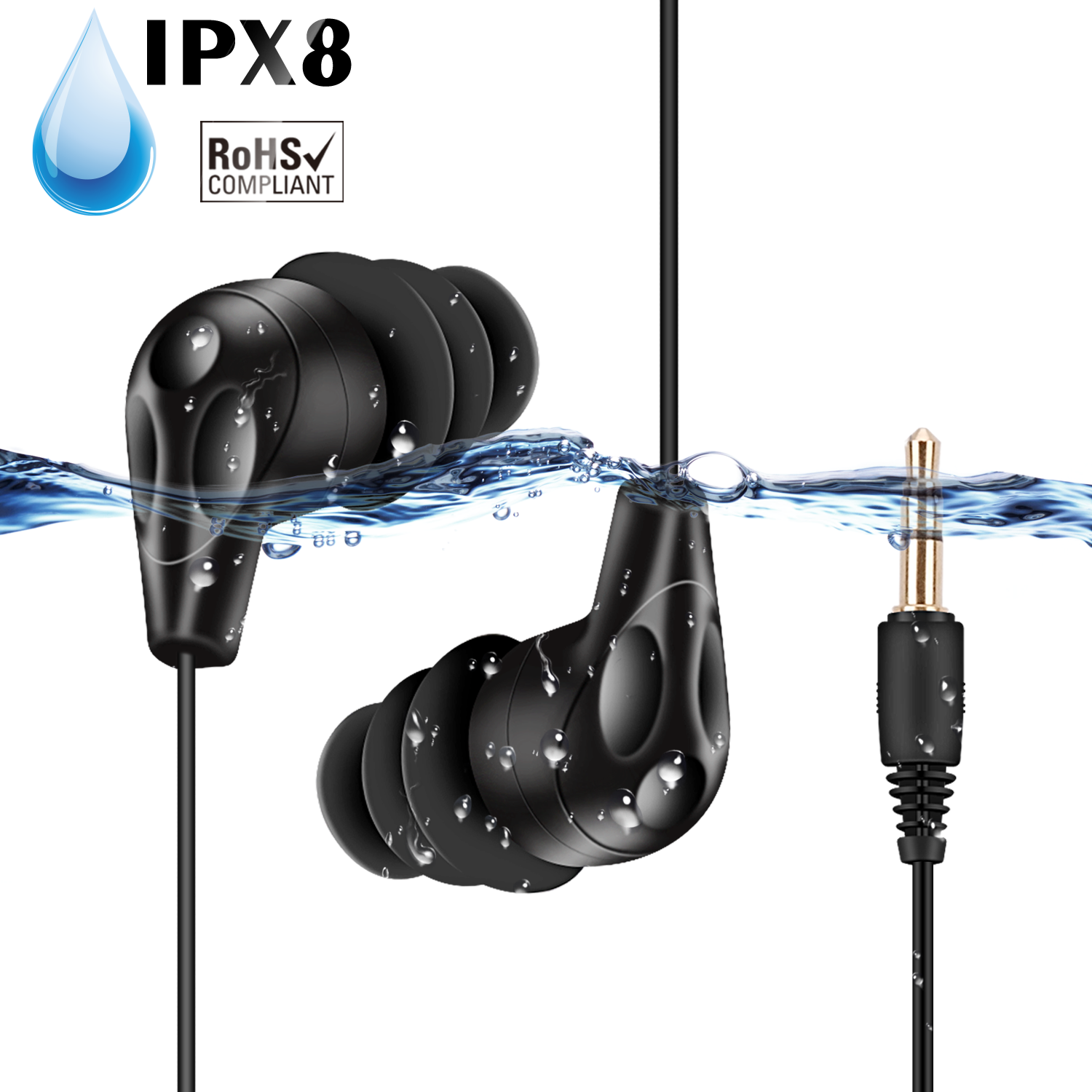 AGPTEK IPX8 Waterproof Headphones, Coiled Swimming Earbuds with Stereo Audio Extension Cable, SE11 Black
