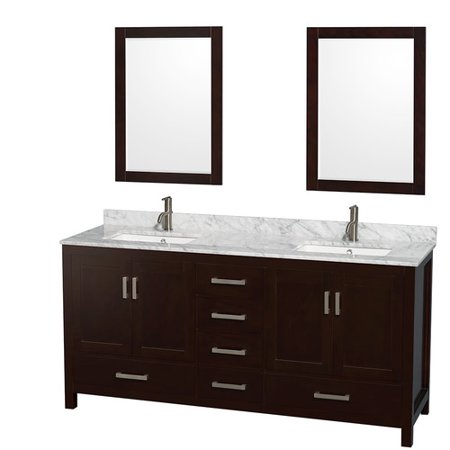Wyndham Collection Sheffield 72 Inch Double Bathroom Vanity In Espresso  White Carrera Marble Countertop  Undermount Square Sinks  And 24 Inch Mirrors