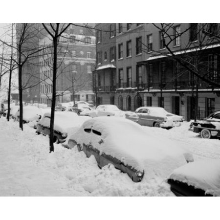 Beekman Place (USA New York State New York City Beekman Place on East side near 51st Street snow covered automobiles line curbs Canvas Art -  (24 x 36))
