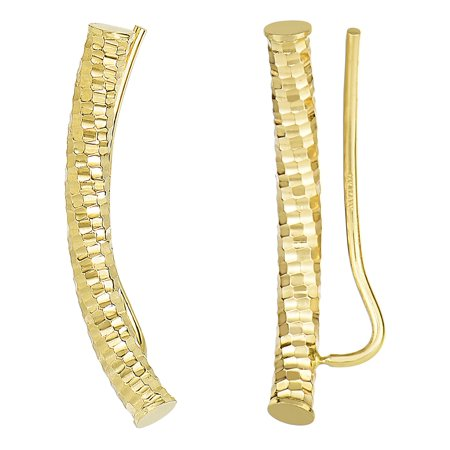 14k Yellow Gold Shinny Diamond Cut Round Tube Curved Climber -