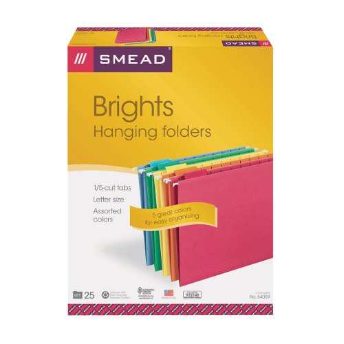 "Smead 64059 Assortment Colored Hanging Folders With Tabs - Letter - 8.50"" X 11"" - 1/5 Tab Cut - Assorted Position Tab Location - Assorted - 25 / Box (SMD64059)"