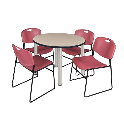"Kee 36"" Round Breakroom Table- Beige/ Chrome & 4 Zeng Stack Chairs- Blue"