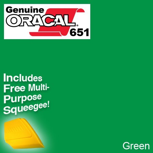 ORACAL 651 Vinyl Roll of Glossy Green - Includes Free Multi-Purpose Squeegee - Choose Your Size