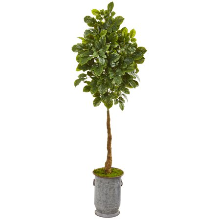 Copper Metal Tree (Nearly Natural 6' Beech Leaf Artificial Tree in Metal Planter with Copper)