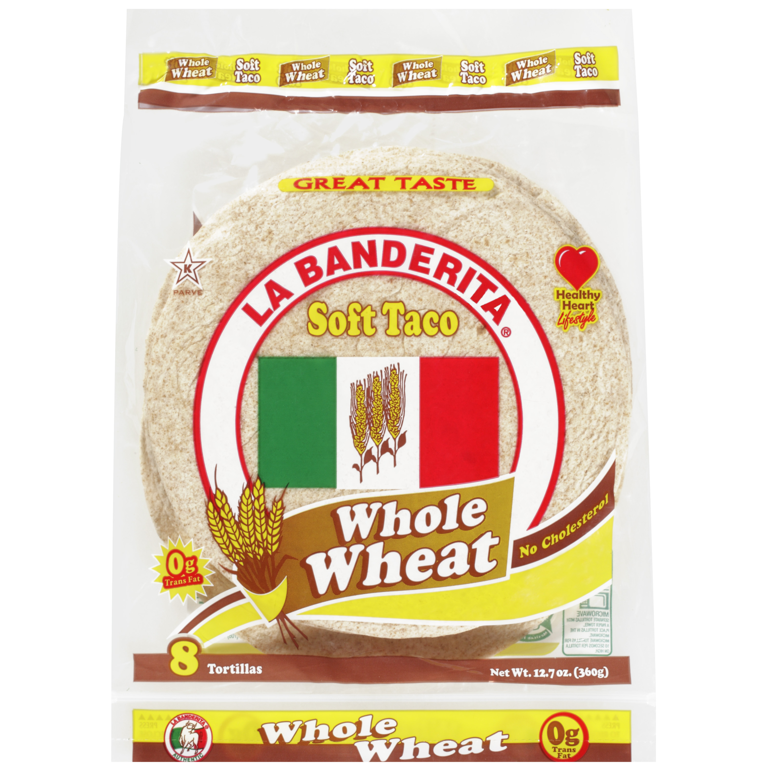 La Banderita Soft Taco Whole Wheat Tortillas, 8ct
