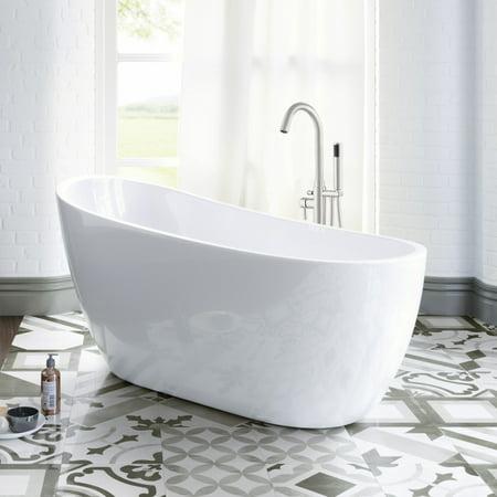 Woodbridge 54 acrylic freestanding bathtub contemporary soaking tub with brushed nickel for Woodbridge 54 modern bathroom freestanding bathtub