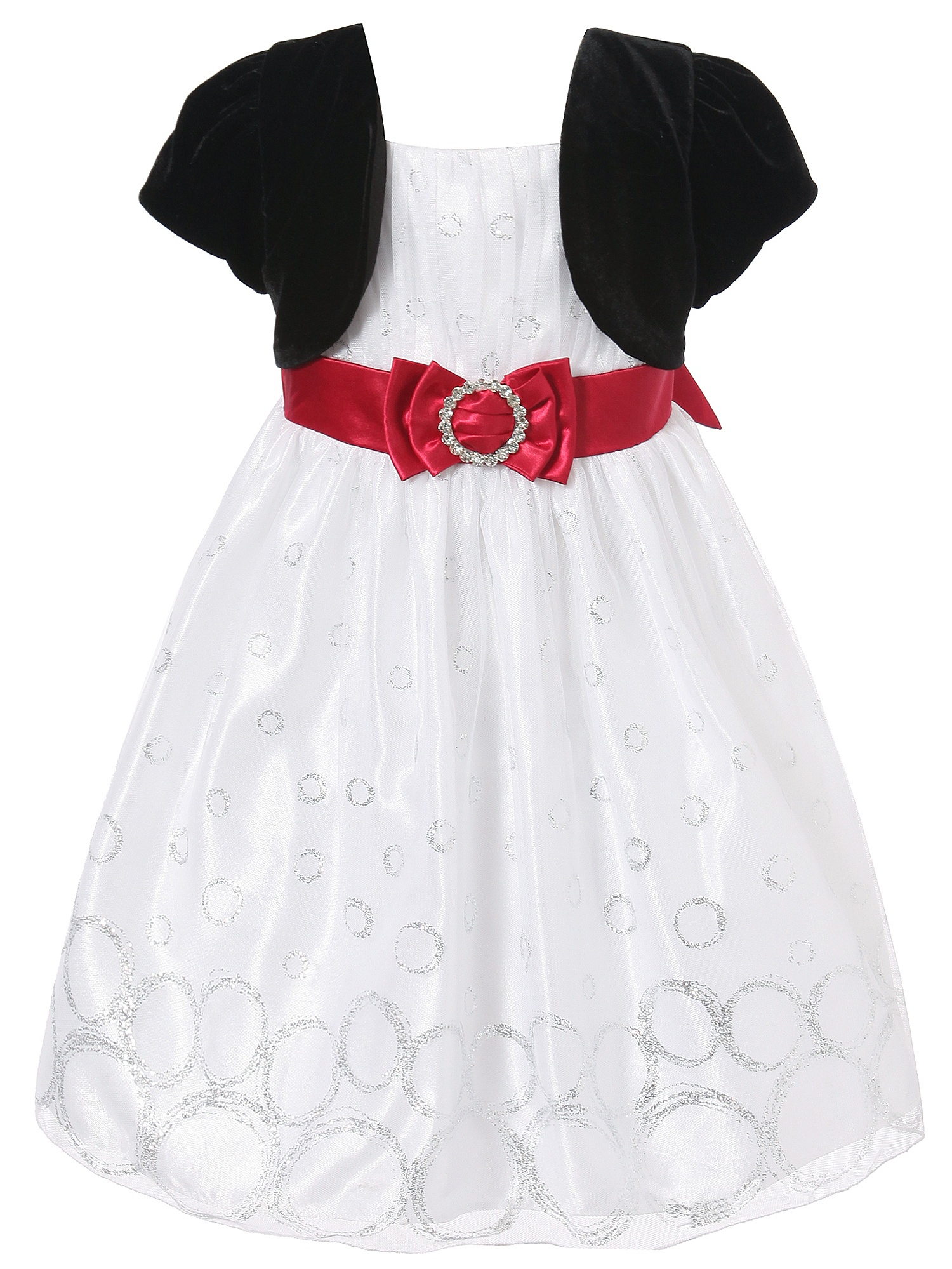 Richie House Girls' Party Dress with Black Cape RH1369