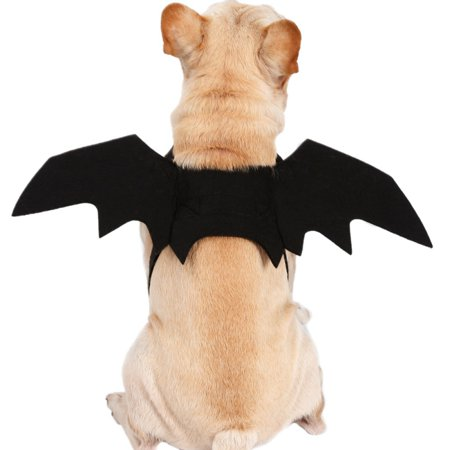 Fysho Pet Halloween Cosplay Funny Costume for Dogs Cats Puppies Kittens Black Bat Wings