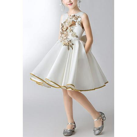 Kids Baby Girls Sleeveless Flowers Designed Fancy Dress - Fancy Dresses For Girls