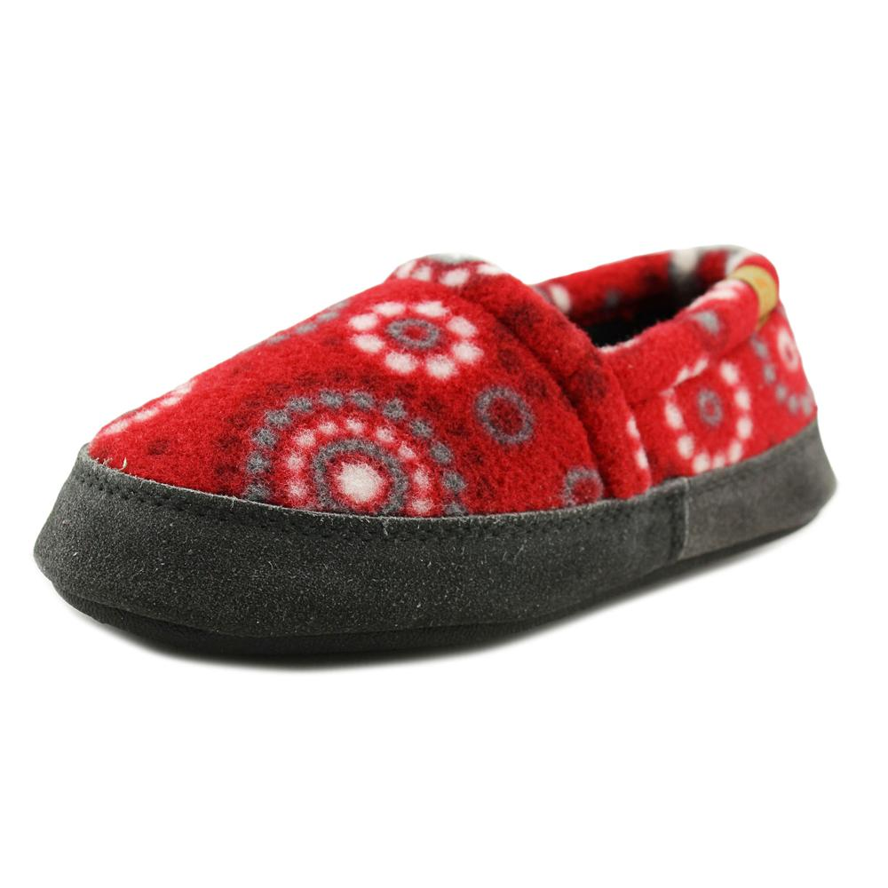 Image of Acorn Kids Acorn Moc Youth Round Toe Canvas Red Slipper