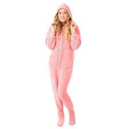 Big Feet Pjs Pink Hooded Plush Adult Womens Footed Pajamas Onesie