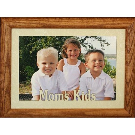 5X7 Jumbo ~ Mom's Kids Landscape Picture Frame ~ Laser Cut Cream Marbled Mat (Fruitwood) (Picture Frames Children)