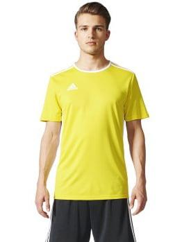 adidas Men's Entrada 18 AEROREADY Primegreen Regular Fit Soccer Short Sleeve Jersey, Yellow/White, X-Small