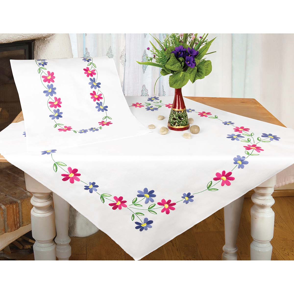 Herrschners® Spring Garland Table Topper Stamped Embroidery Kit