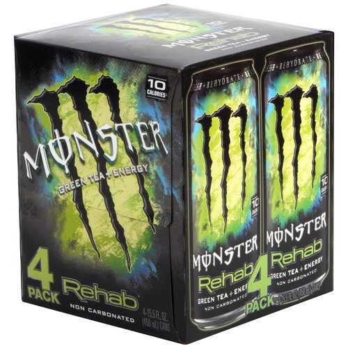 Monster Rehab Green Tea + Energy Drink, 15.5 fl oz, 4-Pack
