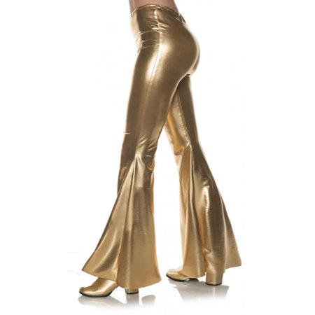 Gold 70S Metallic Womens Adult Disco Costume Bell Bottoms Pants (70s Halloween Accessories)