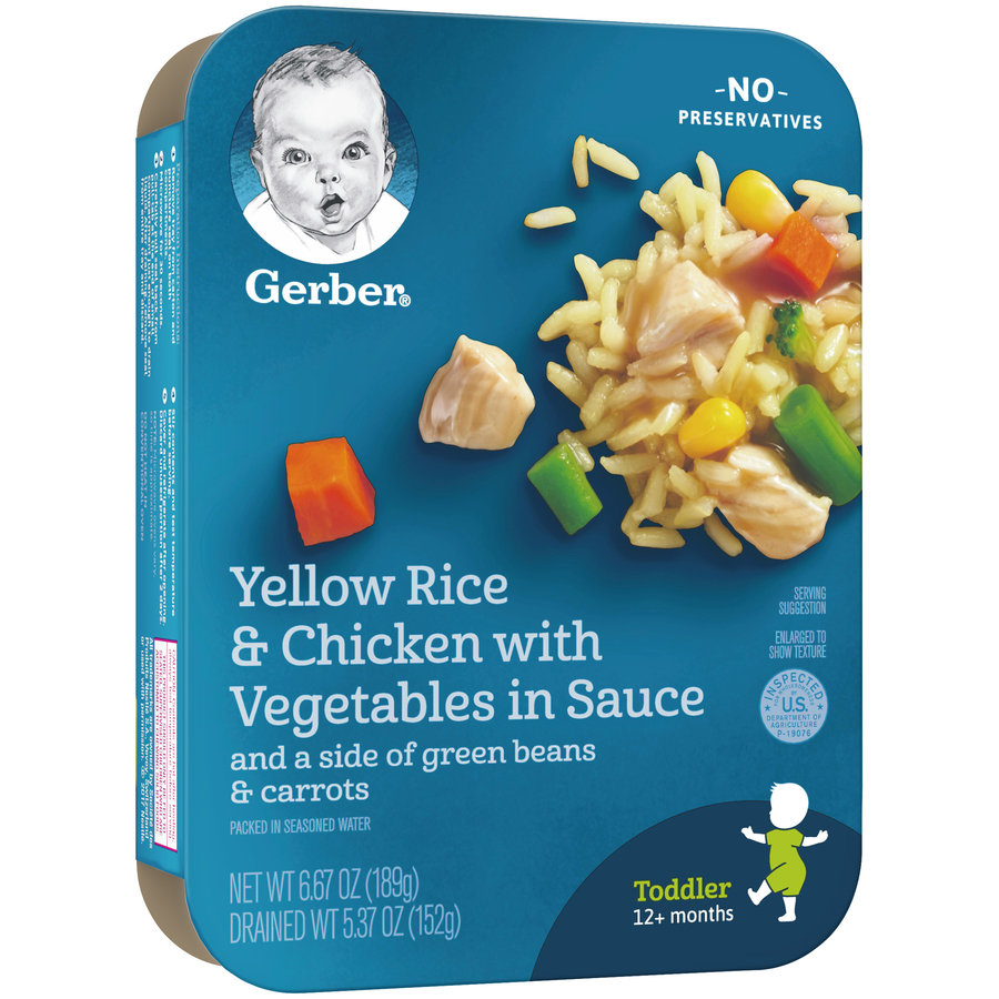 Gerber Lil Entrees, Yellow Rice and Chicken with Vegetables in Sauce with Green Beans and Carrots, 6.67 oz Tray