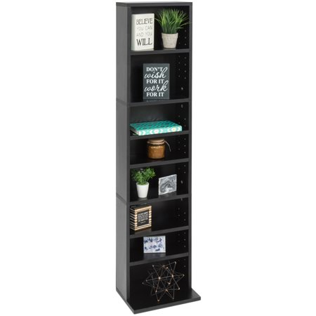 Best Choice Products 8-Tier Media Shelf Storage Cabinet Tower Bookcase w/ Adjustable Shelves, 150lb Capacity - Black Wooden Media Cabinet