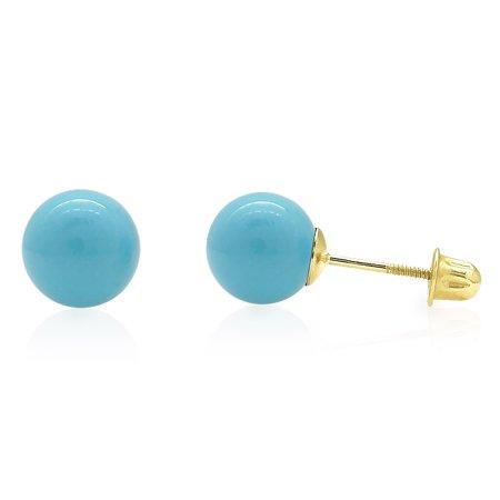 14k Yellow Gold Blue Turquoise Screw Back Ball Stud Earrings