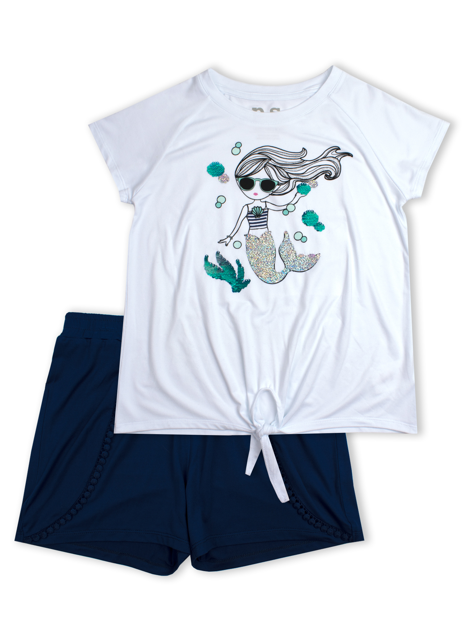 Reversible Flip Sequin Tie Front Tee and Pom Trim Short, 2-Piece Outfit Set (Little Girls & Big Girls)