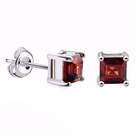 ON SALE - Royal Garnet Princess Cut 0.5 CT Genuine IOBI Precious Gems Stud Earrings Garnet
