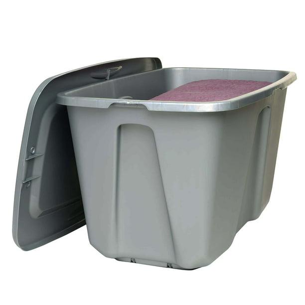 Homz 32 Gallon Storage Container Silver Set Of 2 Walmart Com Walmart Com