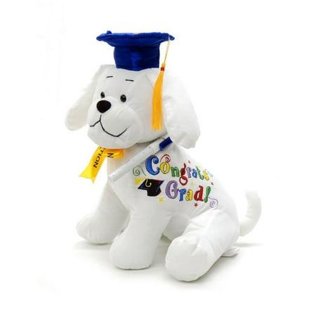 Autograph Animals (Graduation Autograph Stuffed Dog With Pen, Blue Hat - Congrats Grad! 10.5
