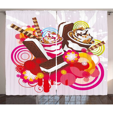 Ice Cream Decor Curtains 2 Panels Set, Mixed Yummy Desserts with Exotic Flowers and Flavors Summer Tropical Theme, Window Drapes for Living Room Bedroom, 108W X 84L Inches, Multicolor, by Ambesonne - Summer Theme