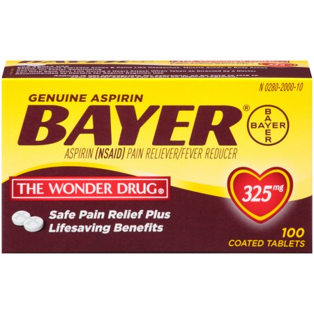Genuine Bayer Aspirin Pain Reliever / Fever Reducer 325mg Coated Tablets, 100