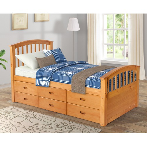 Merax Storage Bed Solid Wood Captain Bed With 6 Drawers, Twin, Natural