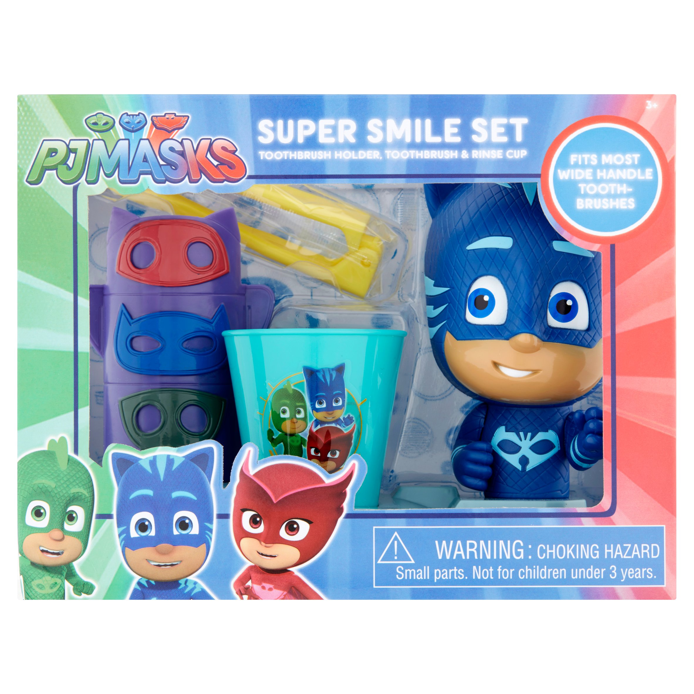 PJ Masks Toothbrush, Toothbrush Holder, Rinse Cup Gift Set, 3pcs    Walmart.com