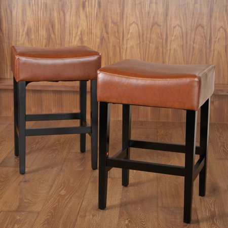 Lopez Backless Hazelnut Leather Counter Stools 2 Pack