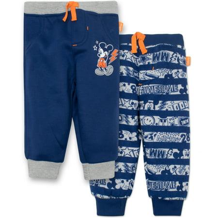 Disney Mickey Mouse Baby Boys' 2 Pack Fleece Drawstring Jogger Pants, Blue 6-9 Months