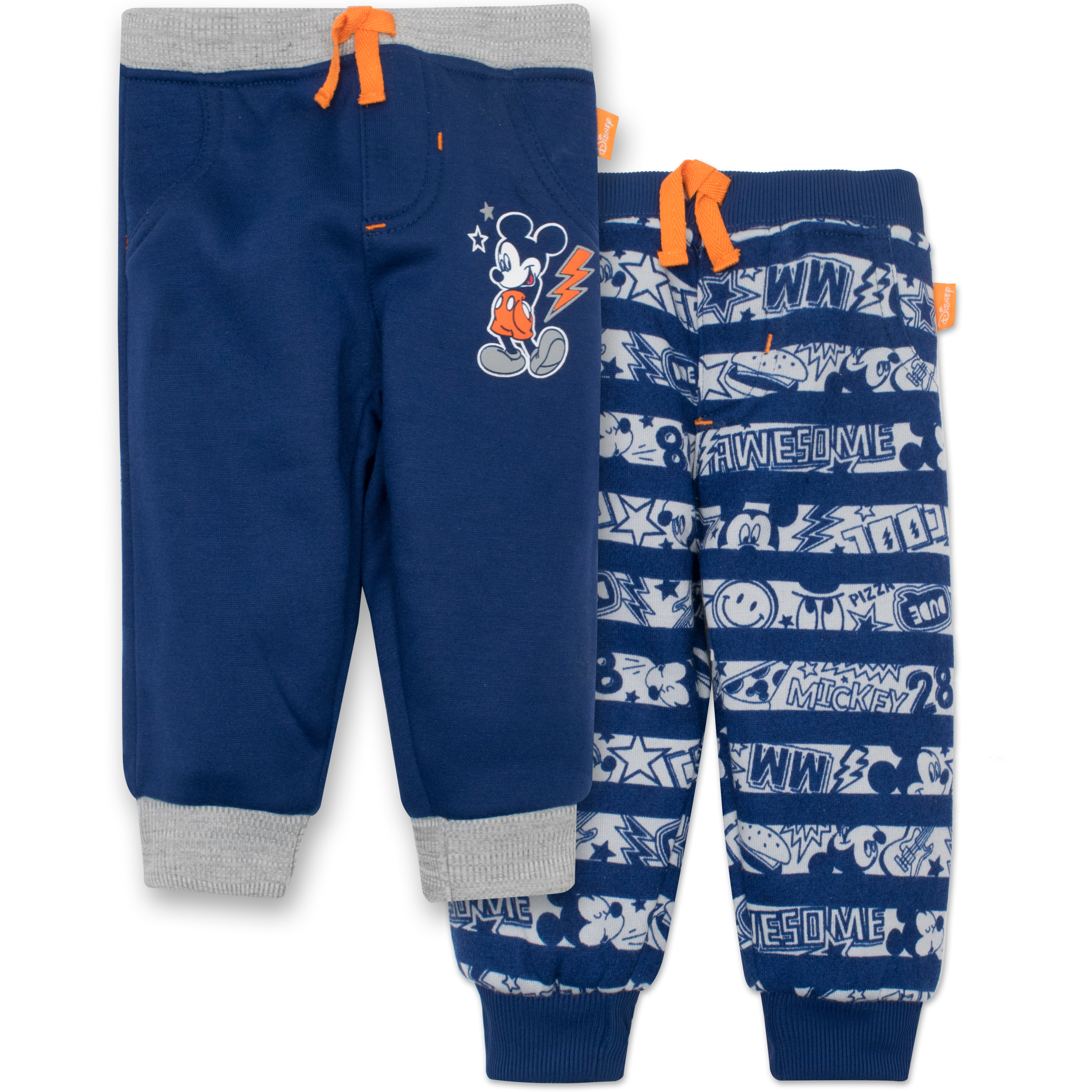 Disney Mickey Mouse Baby Boys' 2 Pack Fleece Drawstring Jogger Pants, Blue 6-9 Months