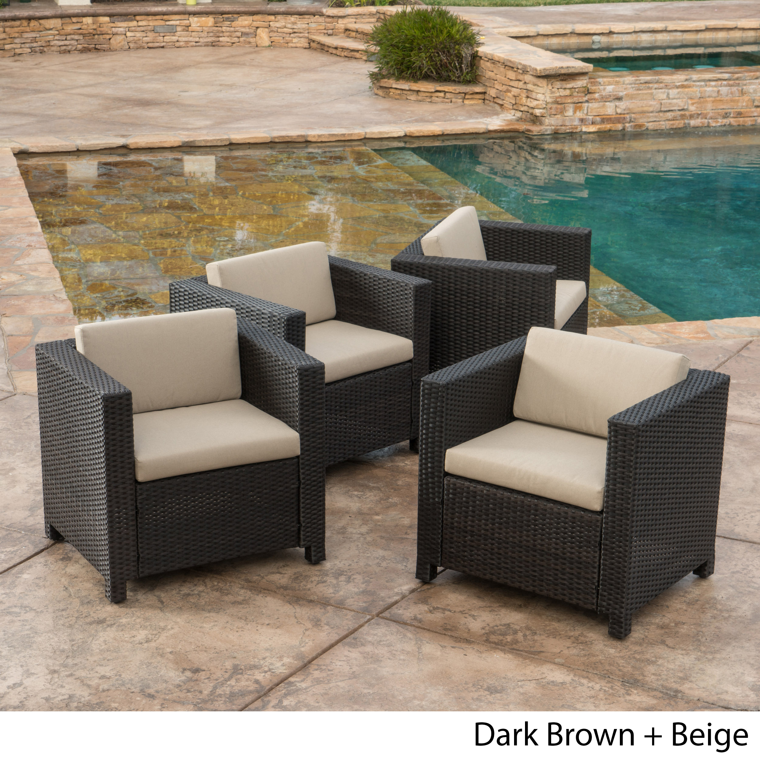 Raleigh Outdoor Wicker Club Chairs with Cushions, Set of 4, Multiple Colors