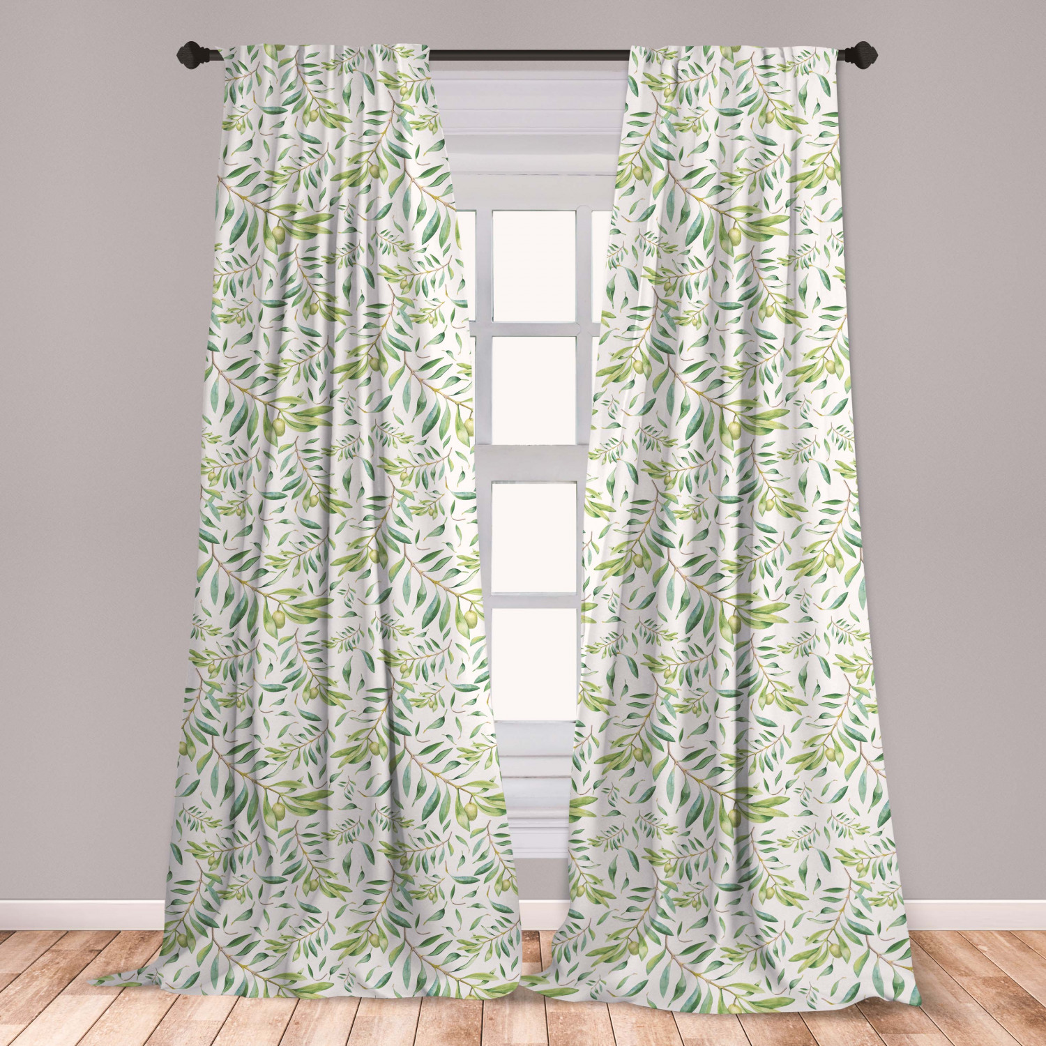 Green Leaf Curtains 2 Panels Set Watercolor Style Olive Branch Mediterranean Tree Organic Window Drapes For Living Room Bedroom Avocado Green By Ambesonne Walmart Com Walmart Com