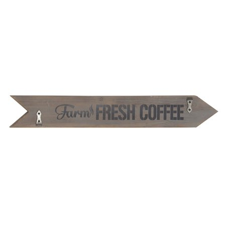 Decmode Farmhouse Wood And Metal Farm Fresh Coffee Arrow-Shaped Decorative Wall Sign, Gray